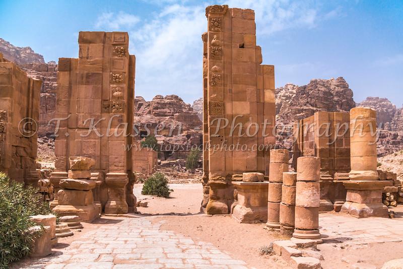 The Hadrian Gate and the Cardo Maximus in Petra, Hashemite Kingdom of Jordan.