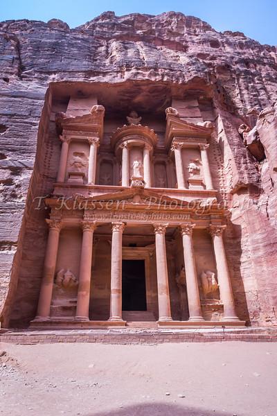 The Treasury building, Al Khazneh in Petra, Hashemite Kingdom of Jordan.