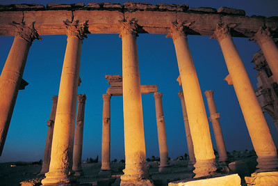 Great Colonnade in Palmyra by Night, Syria