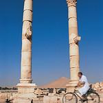 Cyclist and Ruins of Palmyra, Syria