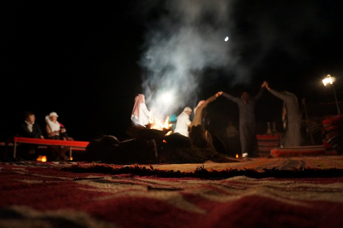 Bedouins playing music and dancing at our camp in Wadi Rum, Jordan.