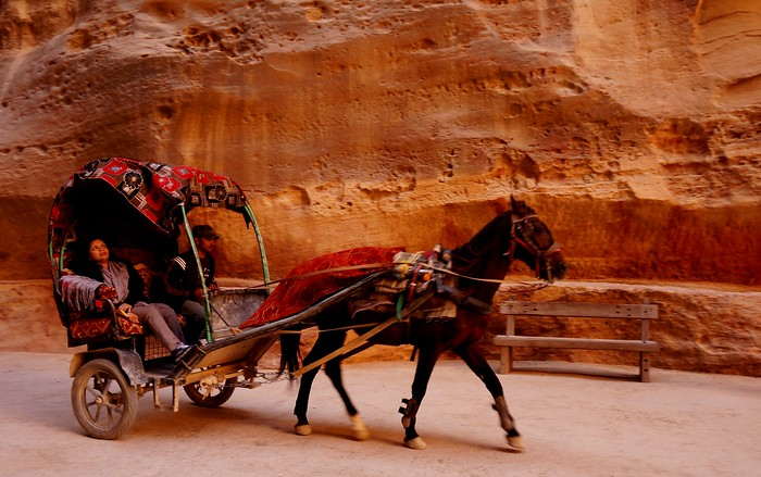 A carriage ride into Petra.