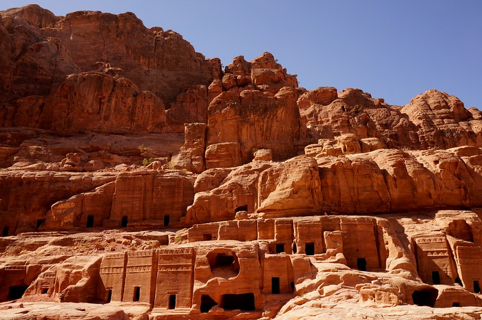Tombs carved into the red rock in Petra.