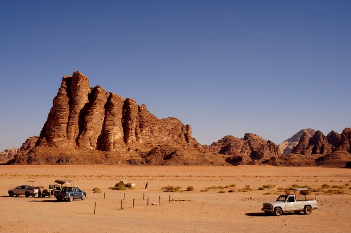 "A rock formation known as ""The Seven Pillars of Wisdom"" in Wadi Rum, Jordan."