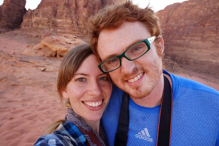 Audrey and Sam in Wadi Rum, Jordan.