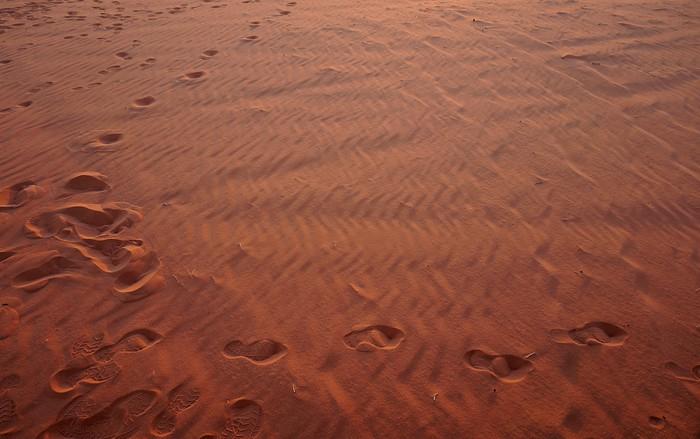 Footsteps in the sand in Wadi Rum, Jordan.