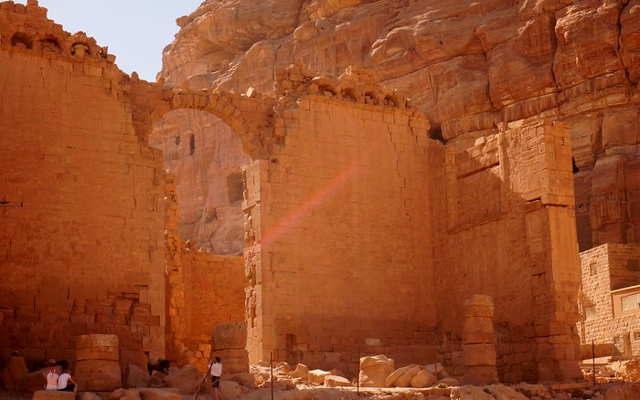 The great archway and other ruins in Petra.