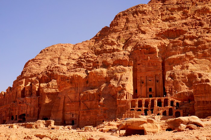 Tombs and temples carved into the rock in Petra.