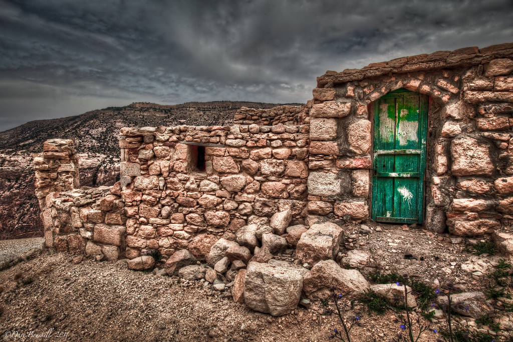 The green door on ruins in the Dana Reserve of Jordan