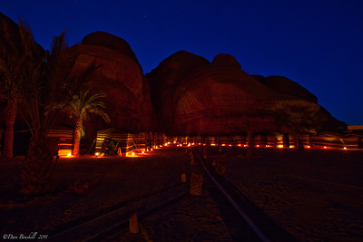 Captains Desert Camp at night in the Wadi Rum Desert