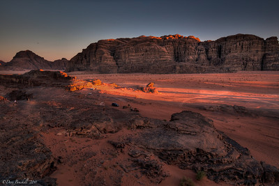 Wadi Rum sunset over a desert landscape