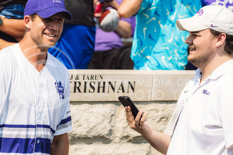 Jordy Nelson Legends Classic Softball Game presented by Peoples State Bank on Sunday, September 12, inside Bill Snyder Family Stadium. The match included several K-State legends including David Allen, Megan Mahoney, Jeff Kelly, and Aaron and Kevin Lockett. (Dylan Connell   Collegian Media Group)