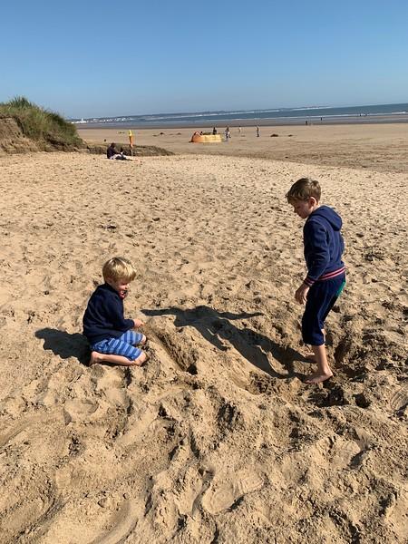 Joseph & Samuel on Fraisthorpe Beach, September 1st 2020