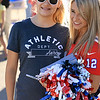 Patriots Cheerleader Nicole Manelas, 22, of Pelham N.H. poses for a picture with Emma lebel, 13, from Lowell at the Joseph Middlemiss Big Heart Foundation's 4th annual Celebrity Scoop Fest at Shaw Farm in Dracut on Wednesday, June 21, 2017. SUN/JOHN LOVE