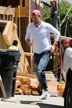 Josh Duhamel works on construction