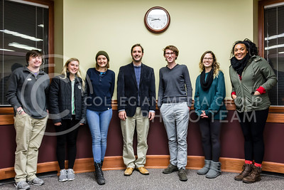 Joshua Svaty, Democratic gubernatorial canidate, visits with the Students for Enviromental Action group at Hale library in Manhattan Kan on Nov 7, 2017. Svaty and the Group met to discuss enviromental issues that affect Kansas.  (Alex Shaw | Collegian Media Group)