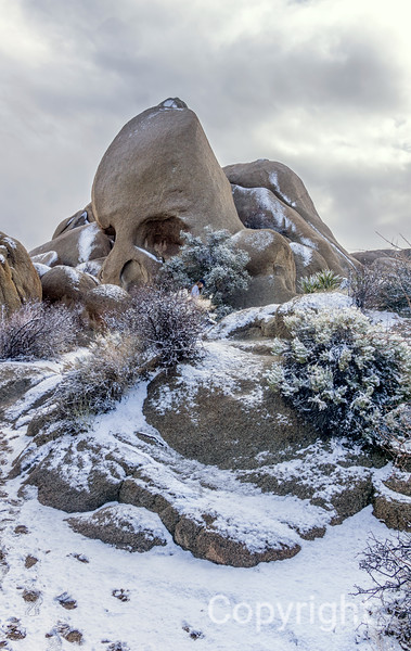 Skull Rock in Snow Joshua Tree