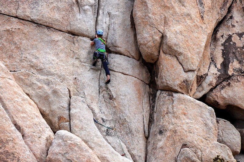Lone climber continues her ascent.