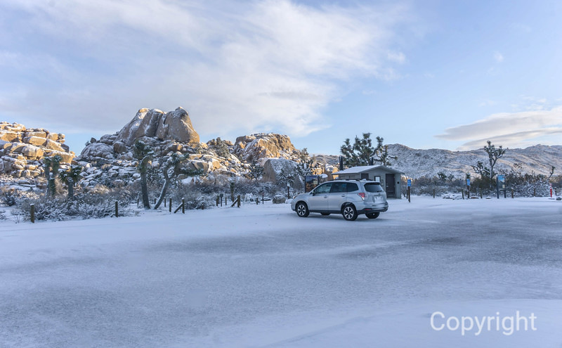 Barker Dam Trail Parking lot during Snow