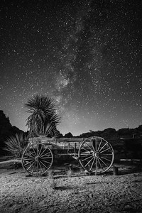 Old Wagon with Milky Way