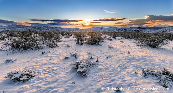 Sunrise Clouds and Snow Joshua Tree