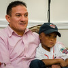 Josmaily Luzon Cruz, 6, sits with dad Jose Luzon as he recalls meeting David Ortiz during a pre-game ceremony held on Sunday afternoon, Ortiz's last home game as a member of the Boston Red Sox. Cruz receiving life-saving heart surgery paid for through the David Ortiz Children's Fund in September 2014. SENTINEL & ENTERPRISE / Ashley Green