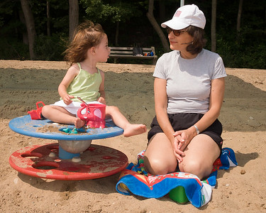 10 Years Ago  June  30, 2005 - Hilda and Abigail on Rosewood Beach