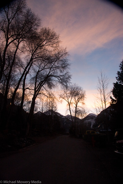 Looking up the West Dakota Street as the sun is rising
