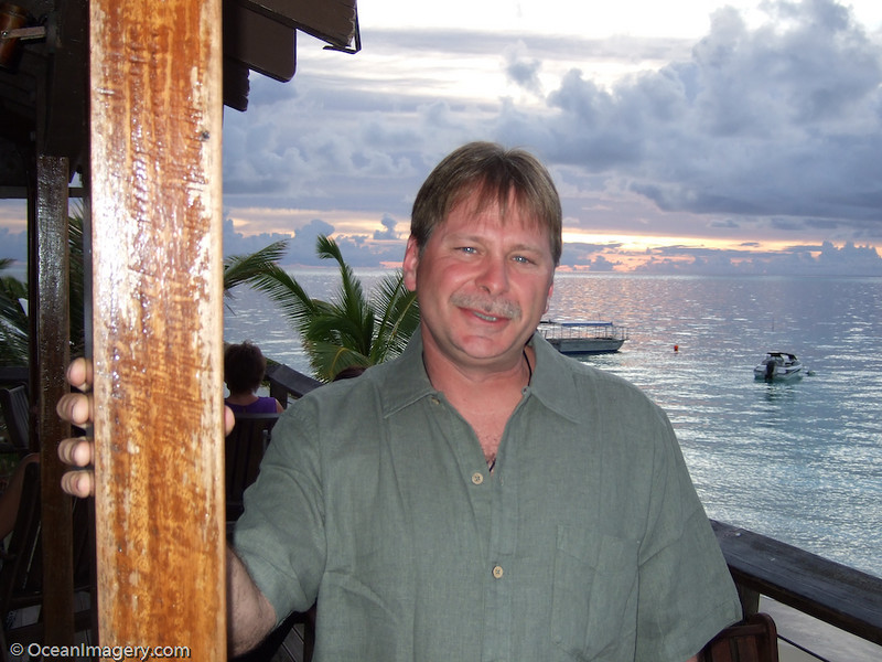 A photo of me at the Sundowner Bar on Castaway Island, Fiji