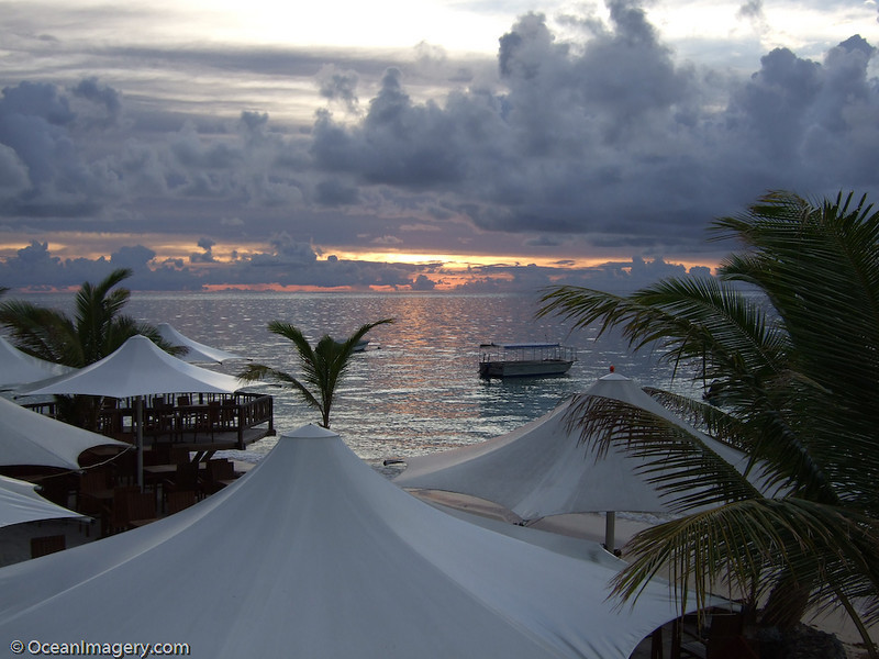 Overlooking the outdoor dining area on Castaway Island.
