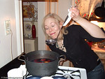 Sally checking the potency of her homemade glogg!