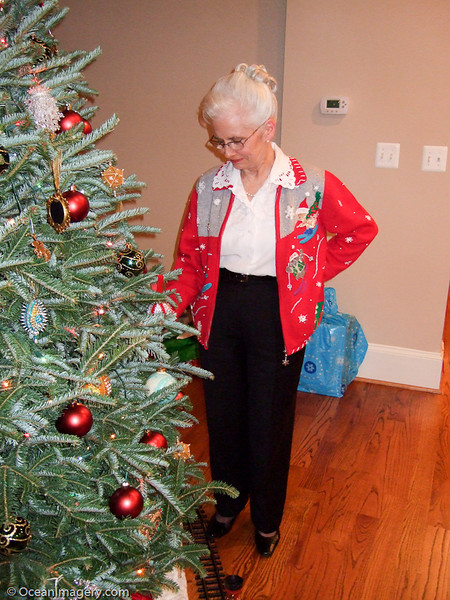 Mom checking out the tree