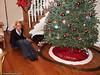 Christina playing with Julie's Christmas train