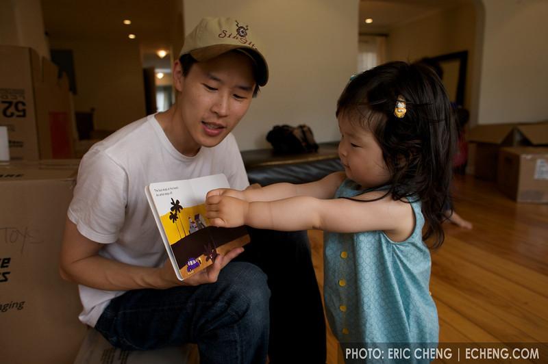 Dad reads to Ella