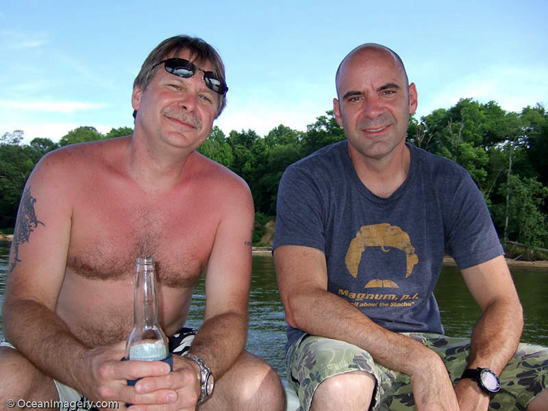 Me and my brother Mike on the back of <em>M/V 'Our Pleasure'</em> at Belmont Bay.