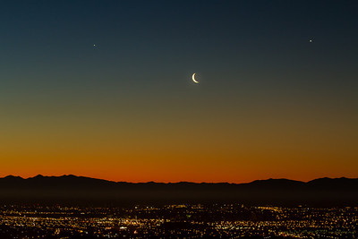 Moonset tonight over Christchurch, from my balcony in Mount Pleasant. What are the two stars (planets?)