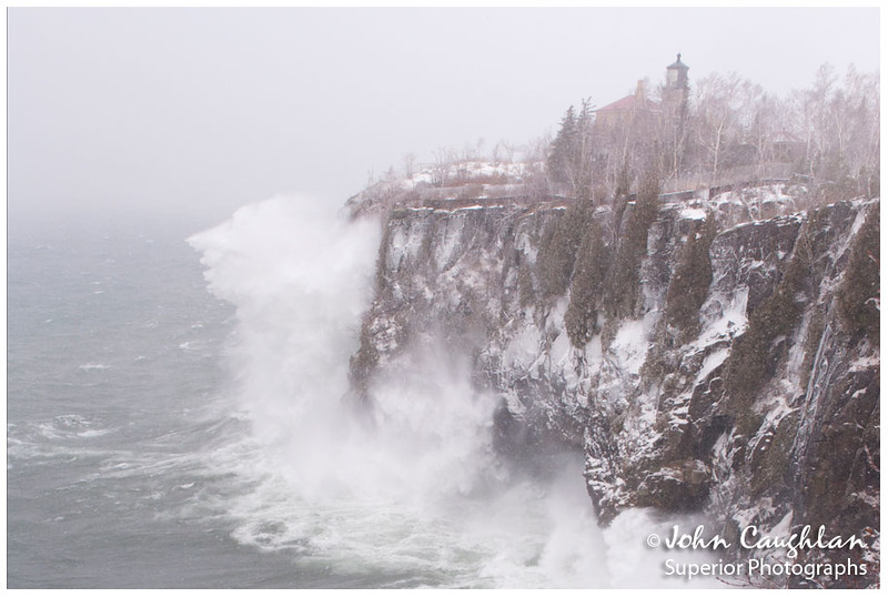 I wandered just north of the Lighthouse and composed this image. The cliff is 130 feet and the spray from the waves was reaching the top of the cliff.