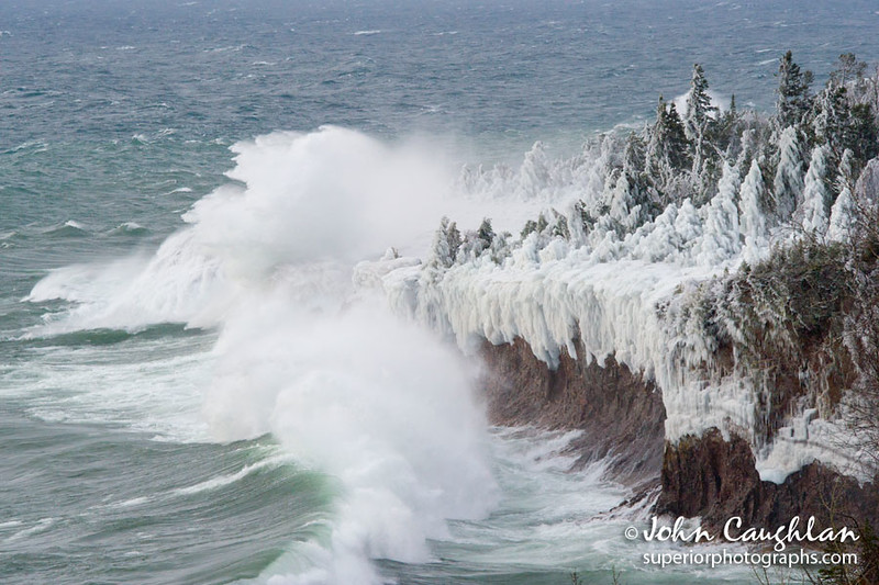 The spray from the waves freezes to everything along the shoreline.