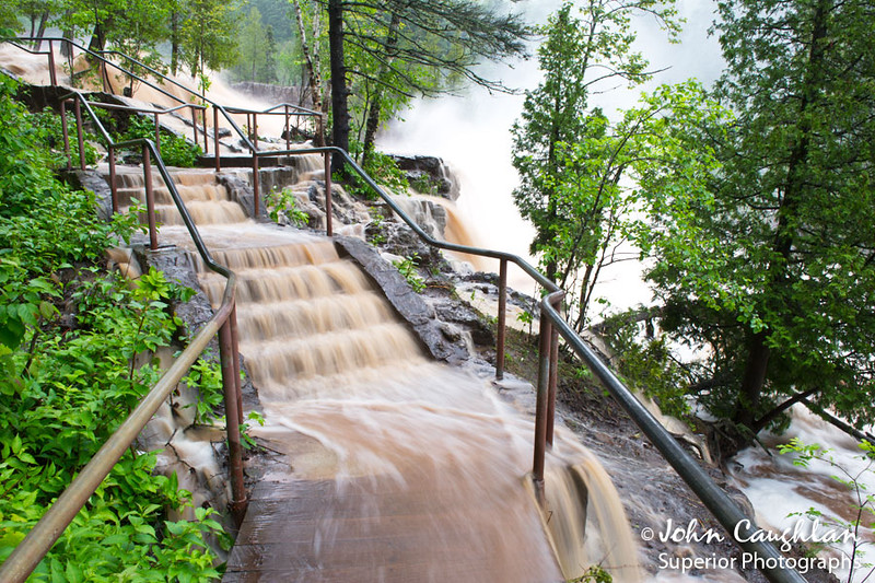 These are the stairs at Gooseberry River between middle and lower falls. I have never seen water coming down these stairs until this day.