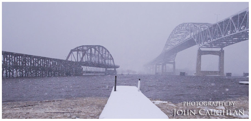"I continued on my journey towards Duluth with the road conditions getting worse with each mile. The Duluth radio stations dubbed this snow storm ""snowmageddon"" and the ""snowpocalypse"" and for good reasons. I didn't spend a lot of time in Duluth, just made one stop to shoot these bridges."