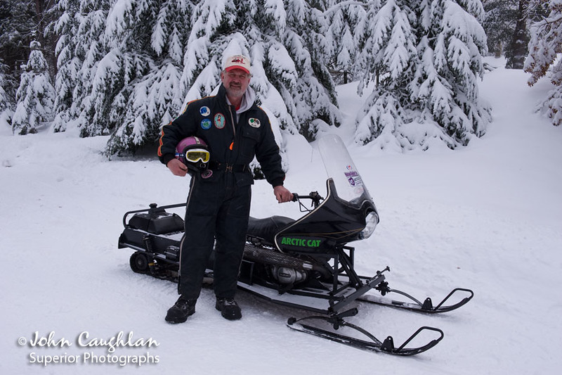This is my friend Dave, owner of the vintage snowmobiles. That is him with an Arctic Cat prototype snowmobile. A rare sled indeed.