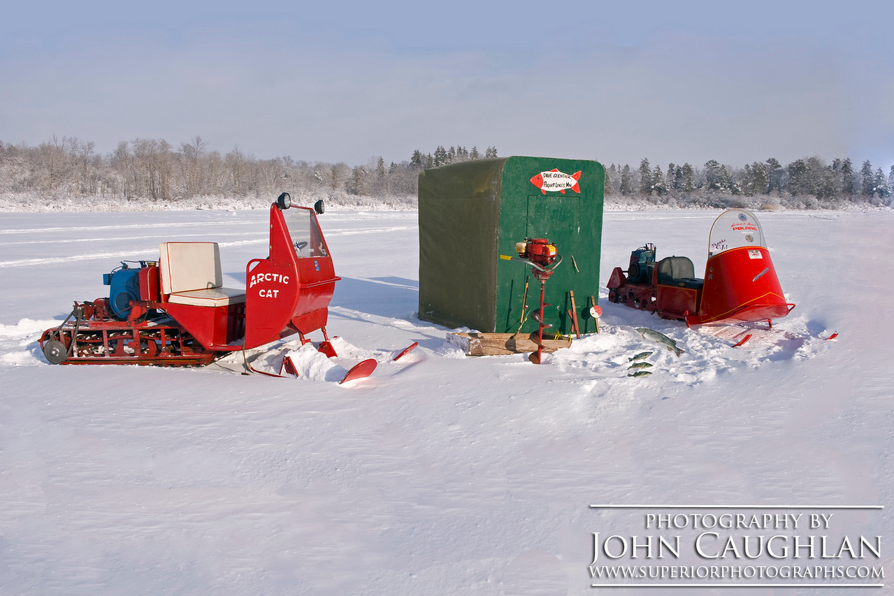 I wanted to recreate an old-time Minnesota ice fishing photos. I remember scenes like this growing up in northern Minnesota.