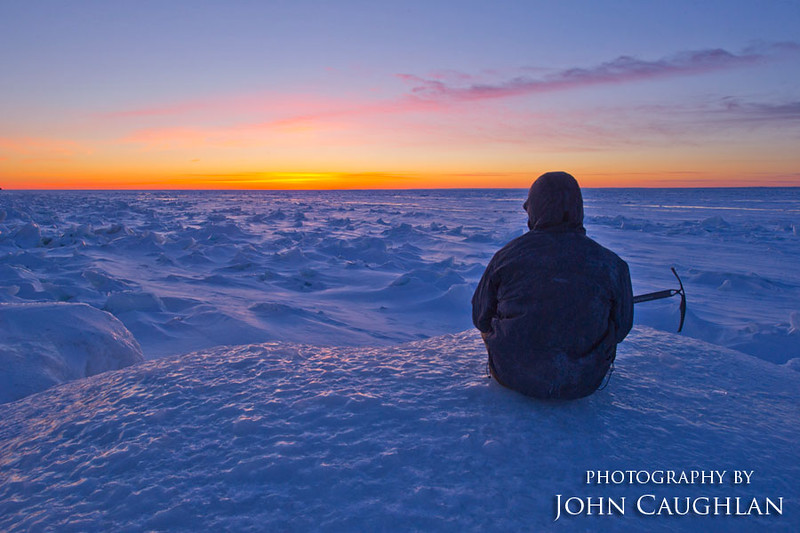 This is my friend watching the sun set over frozen Lake Superior. I imagine this is what Antarctica looks like.