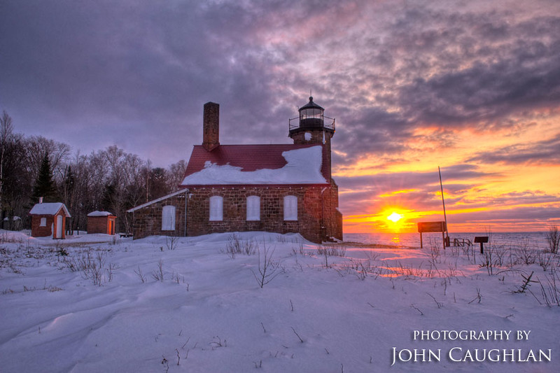 This is the Sand Island Lighthouse. Very few people ever get to see this lighthouse in the winter.