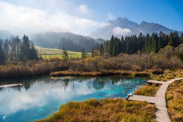 The Spring of Sava Dolinka River, Zelenci, in  Kranjska Gora, Slovenia