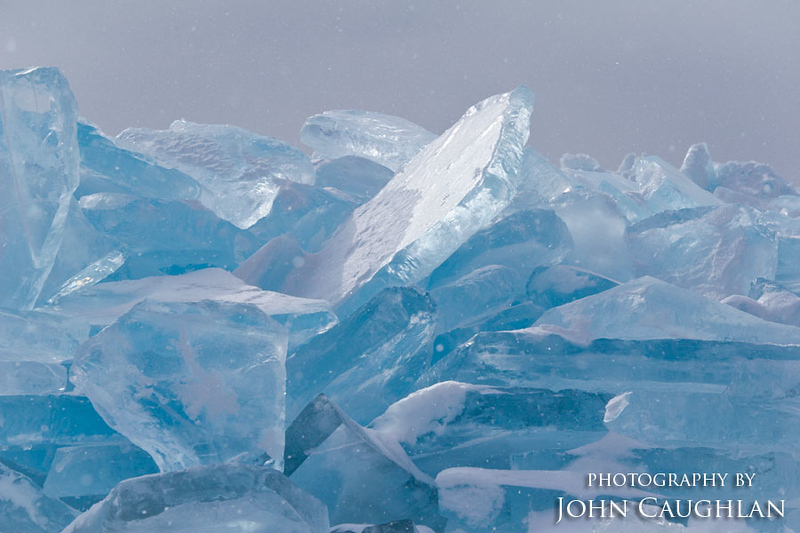 This is a close up of some of the larger blocks of ice. Lake Superior ice is incredibly blue.