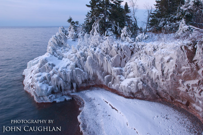 The shoreline was encased in ice from previous storms.