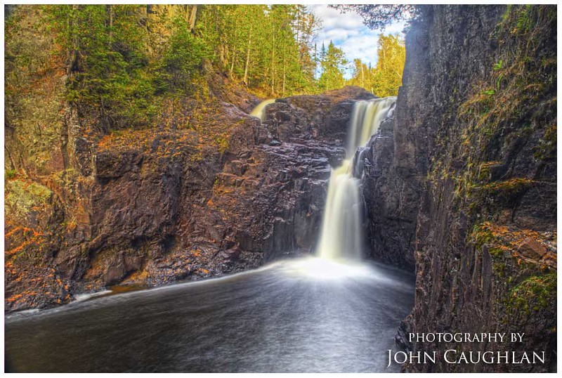 This is the devil's kettle on the Brule River in Judge Magney State Park. The waterfall on the left falls into a bottomless hole. To get the angle for this image I had to repel down a cliff.