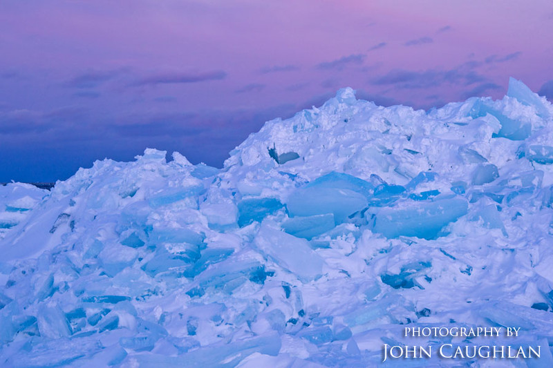 Blue ice and pink skies.