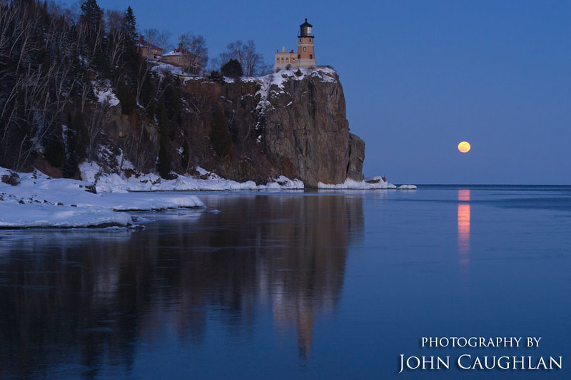 After the sun went down, the moon came up. The winter months are the best times to photograph the full moon at the lighthouse.